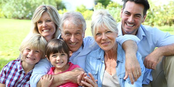 happy healthy multi-generation family
